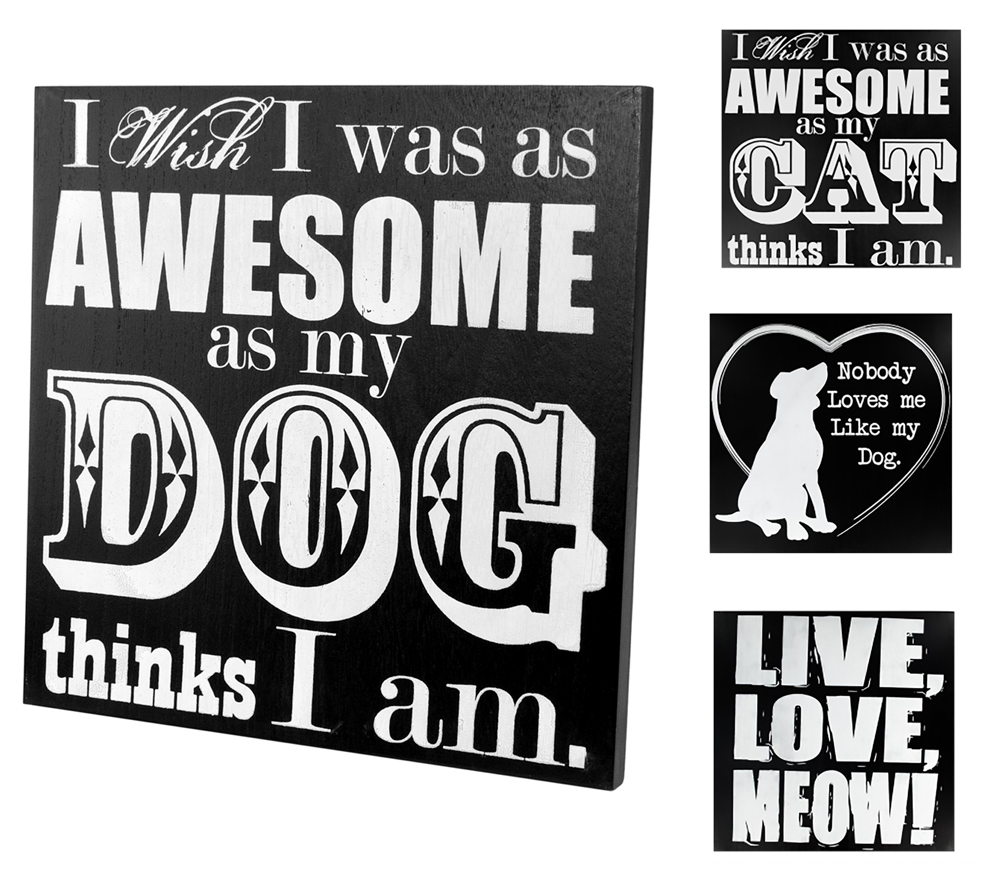 Shop72 -  Black and White Wooden Animal Signs for Pet Lovers - Cat and Dog Signs