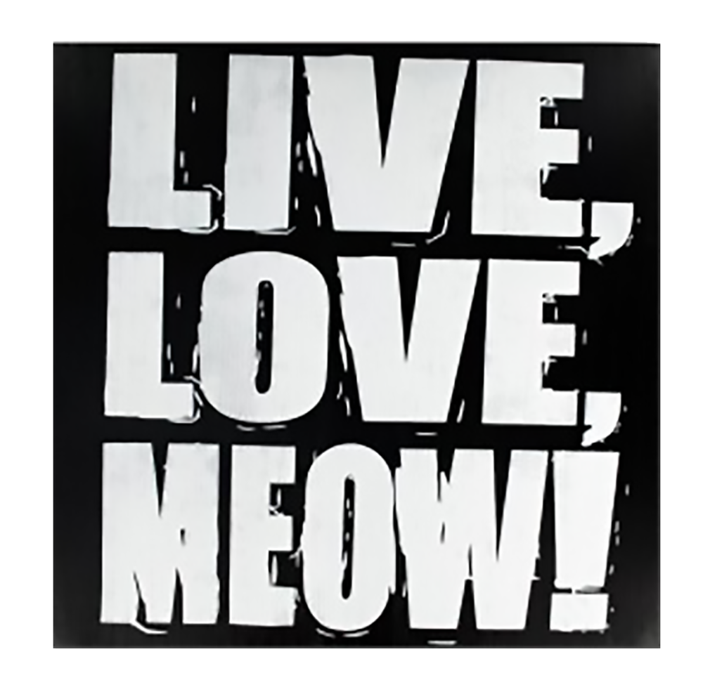 "Shop72 - Black and White Wooden Cat Sign ""Live, Love, MEOW!"" Pet Signs for Pet Lovers Distressed Vintage Cat Sign"