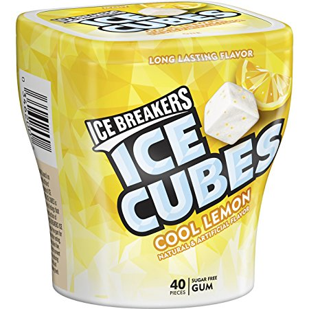 ICE BREAKERS ICE CUBES Chewing Gum, COOL LEMON Flavor, Sugar Free, 40 Piece Cube Pack Container (Pack of 4)