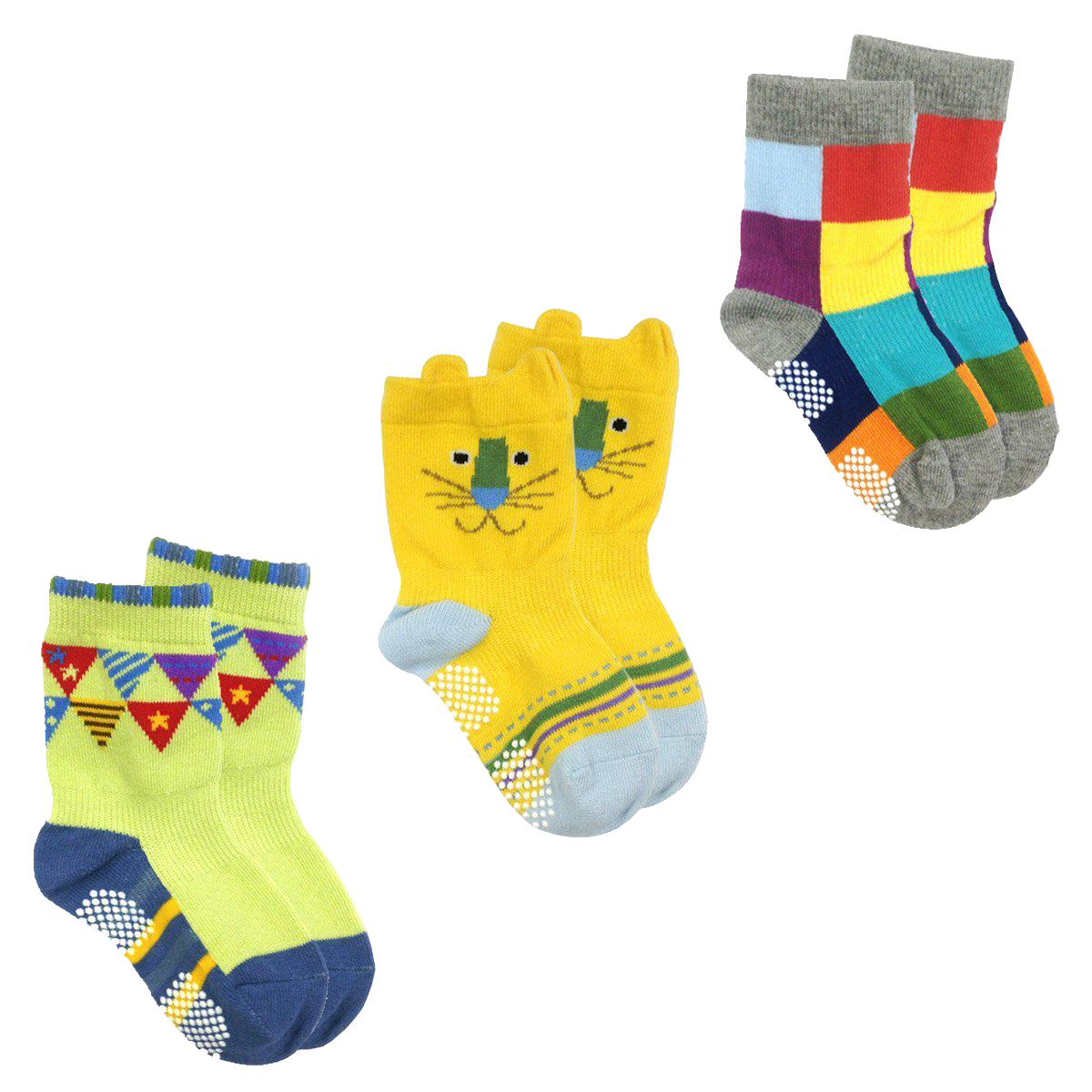 Peek A Boo Animal Non-Skid Toddler Socks - Cat Socks - Non Skid Shoe Socks Infant Baby Boy Anti Slip Cotton Socks With Grips For 12-24 Months - Set of 3