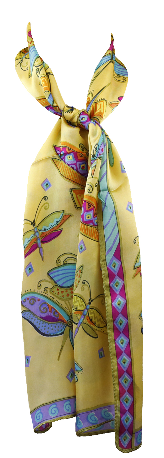 Belle Donne - Beautiful Charmeuse Fabric Silk Neckerchief Square Scarf Butterfly