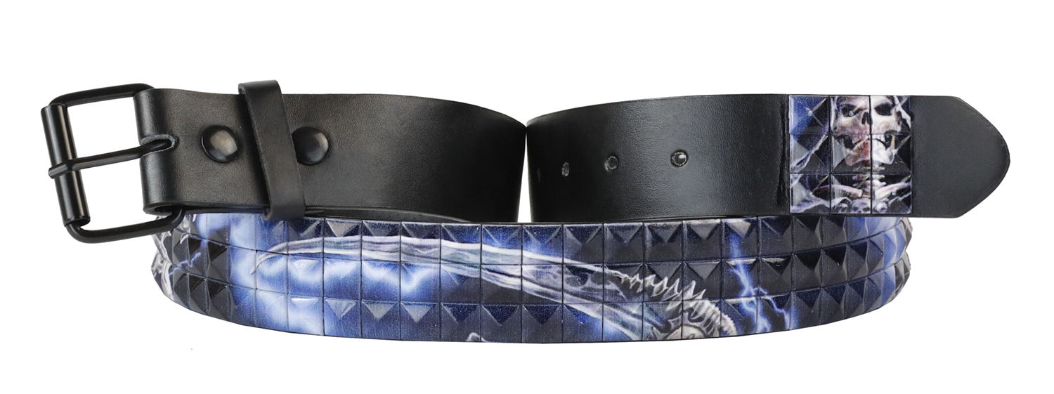 Dabung Leather Pyramid Studded Belt Strap Mens Womens Unisex Fashion Waistband - Skull - Small