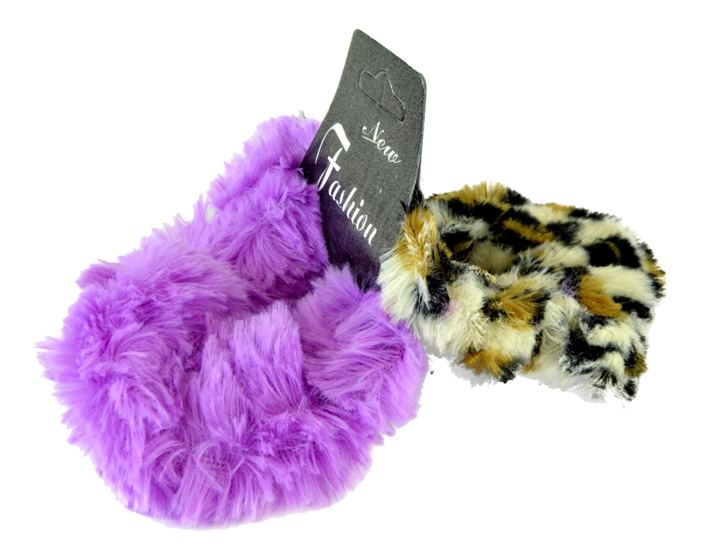2 Piece Fuzzy Furry Artificial Leopard Faux Fur Hair Band Hair Holder Wristband - E