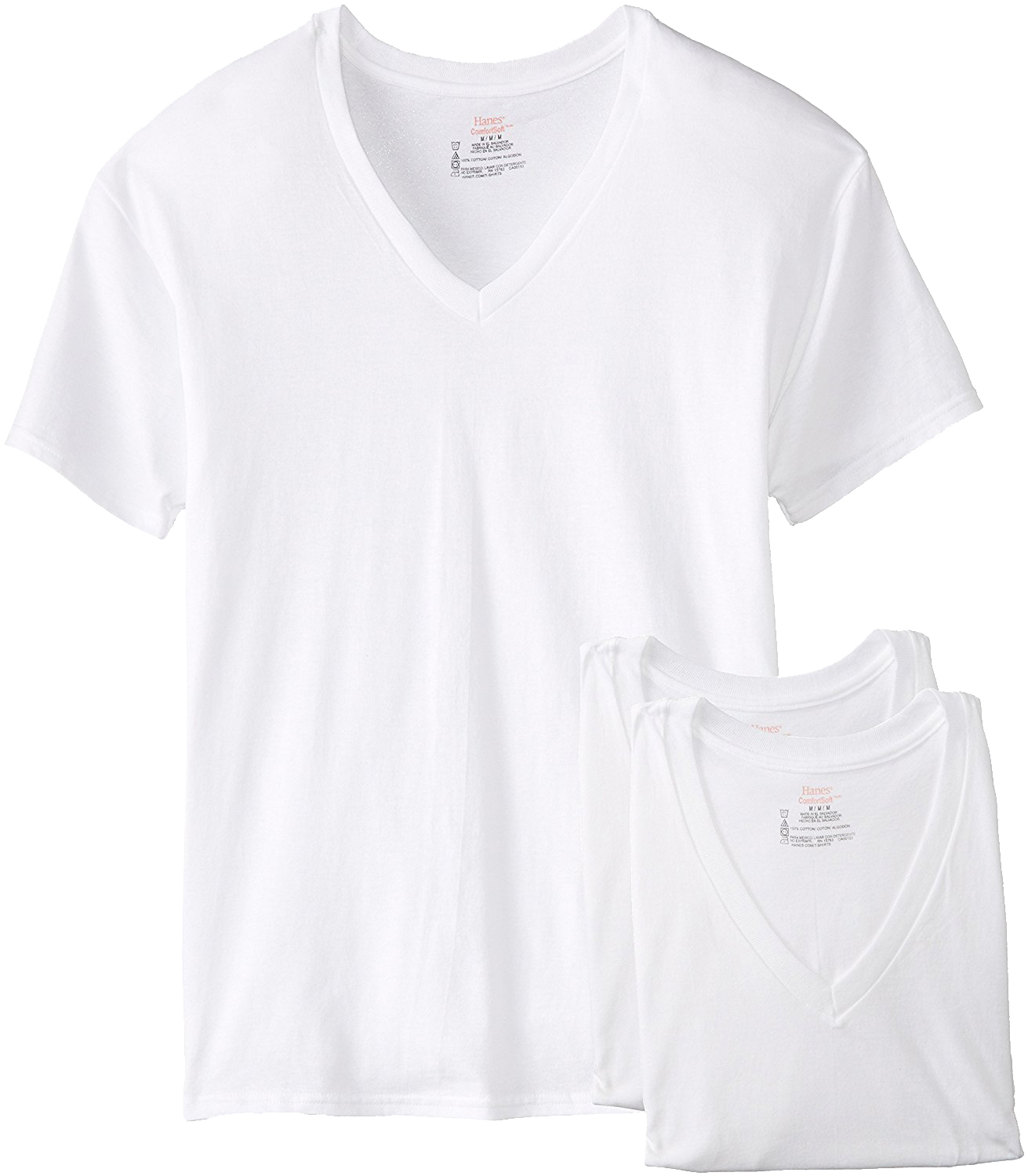 Hanes Men's 3 Pack V Neck T-Shirt  White ,  Black n Grey Pack T Shirt