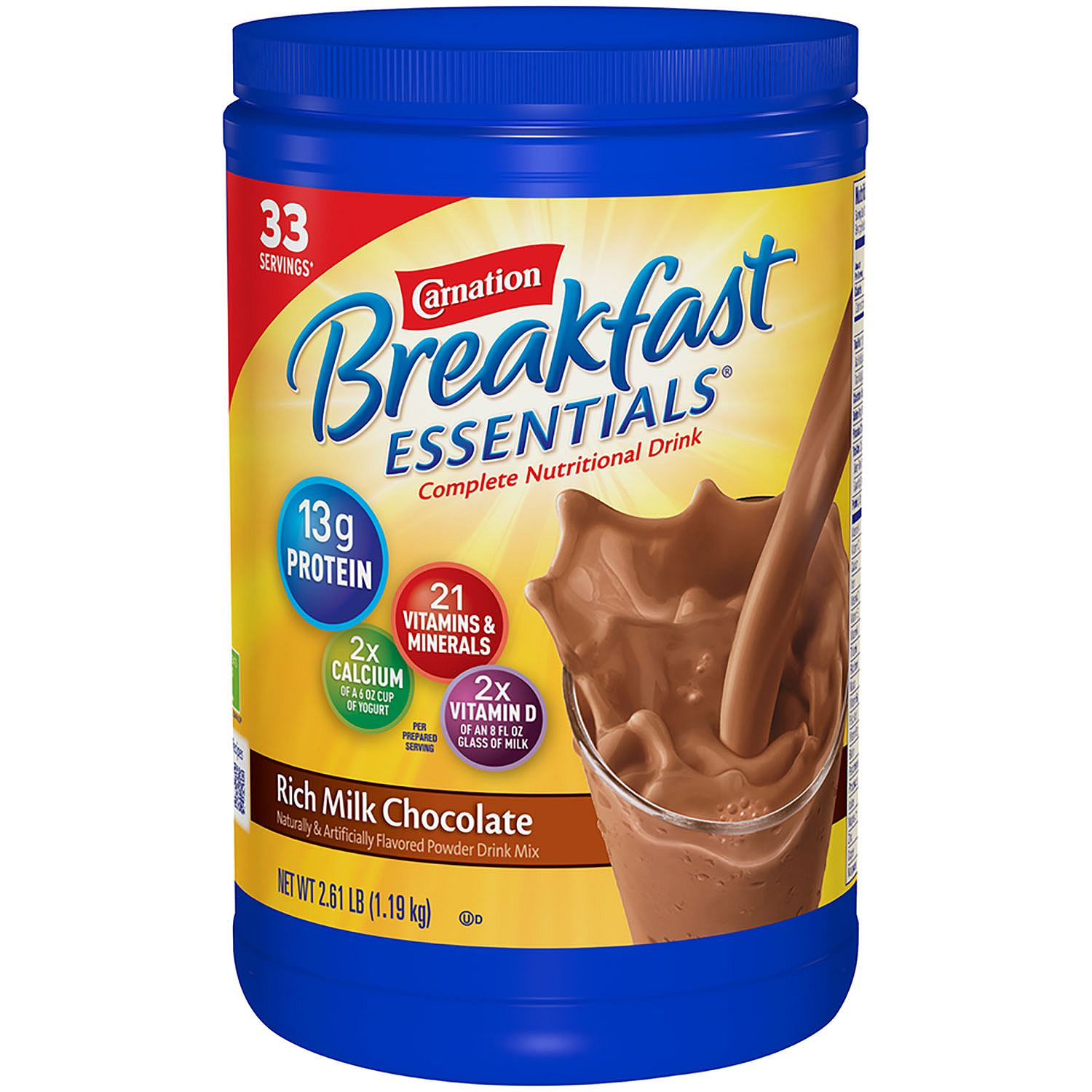 Carnation Breakfast Essentials Rich Milk Chocolate Complete Nutritional Drink 41.76 oz. Canister - 33 Servings