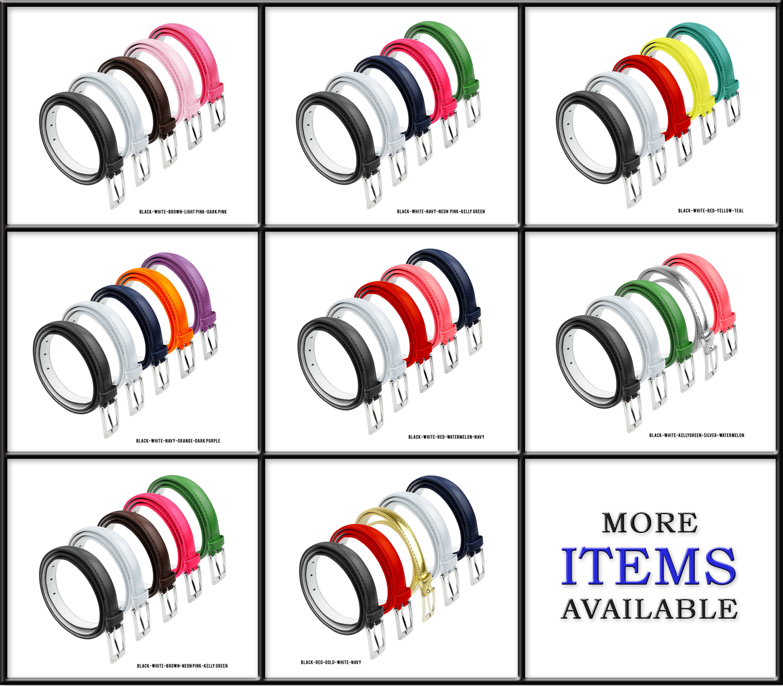 Womens Dress Belt Skinny Bonded Leather Bundle 5 Belt Pack Metal Buckle