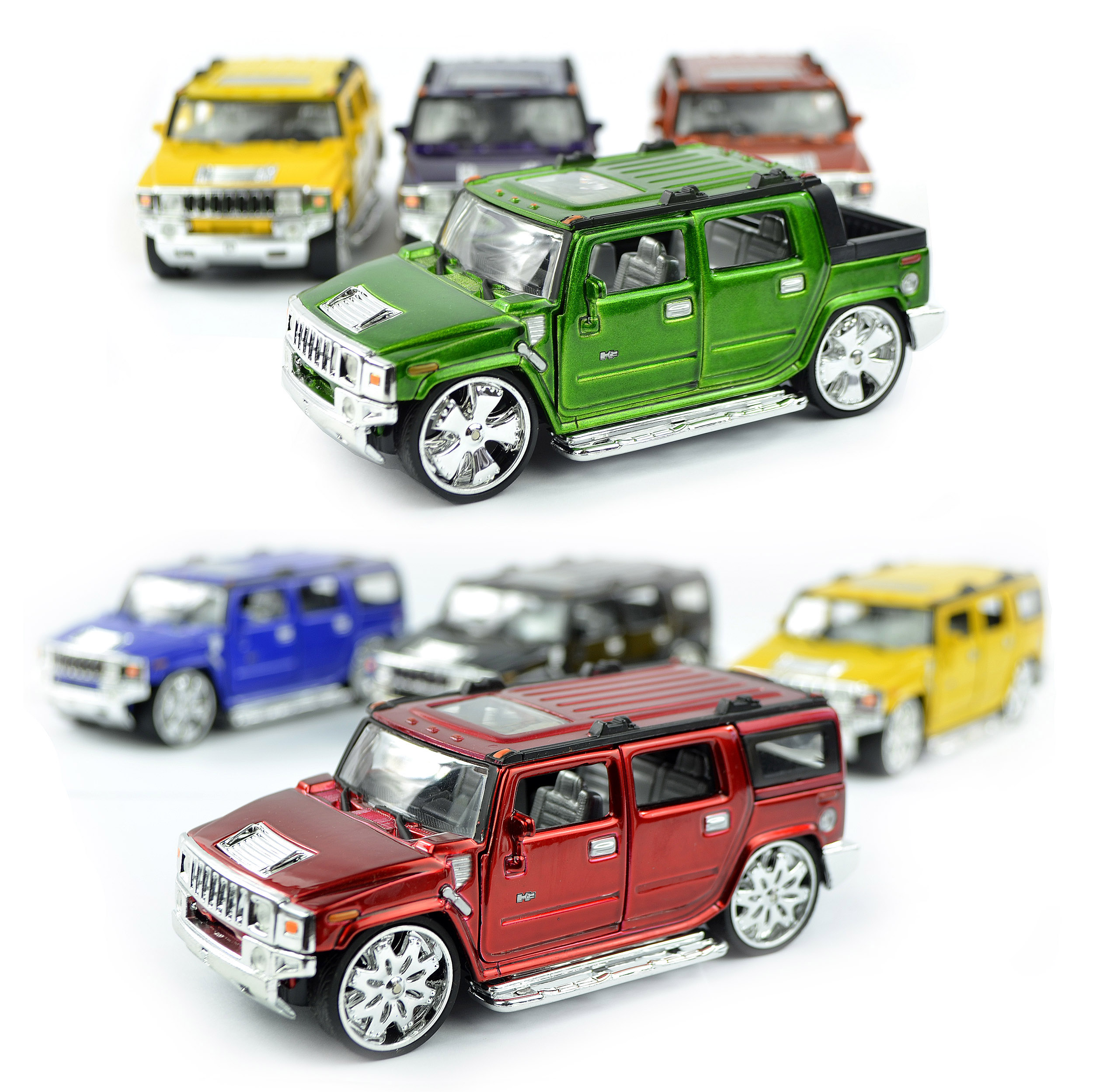 Hummer H2 Diecast Truck SUV - DUB Version - Chrome Rims and Metallic Paint