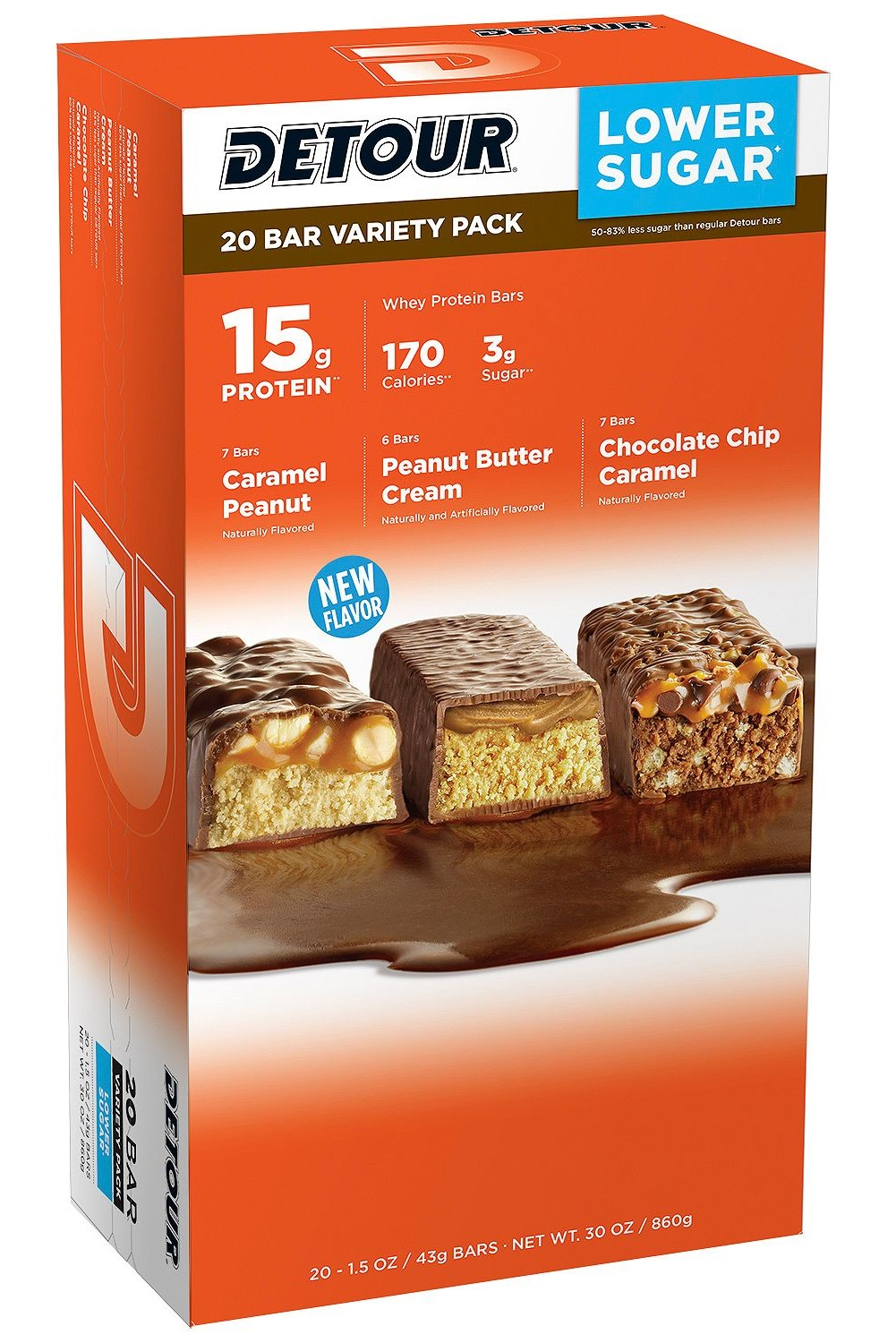 Detour Lower Sugar Protein Bar, Variety Pack (1.5 oz., 20-ct.)