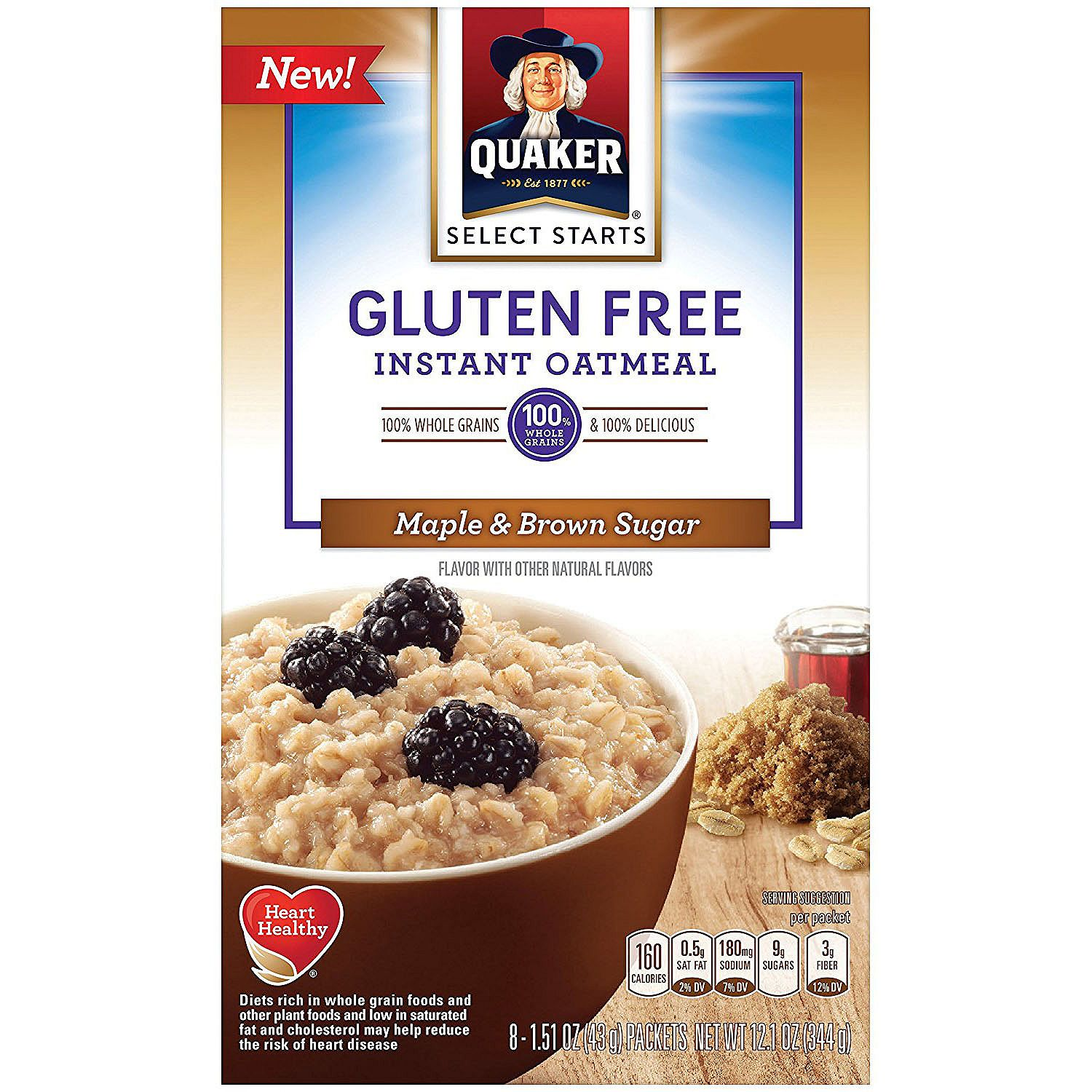 Quaker Gluten-Free Instant Oatmeal, Maple and Brown Sugar (8 pouches per box, 6 boxes)