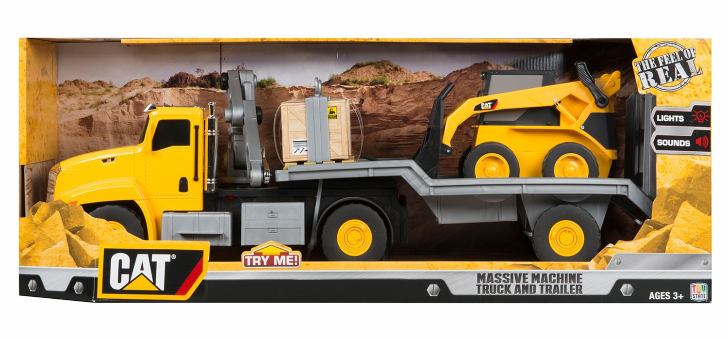 Toy State CAT Light and Sound Massive Machine Grab Crane Lift with Skid Steer Vehicle