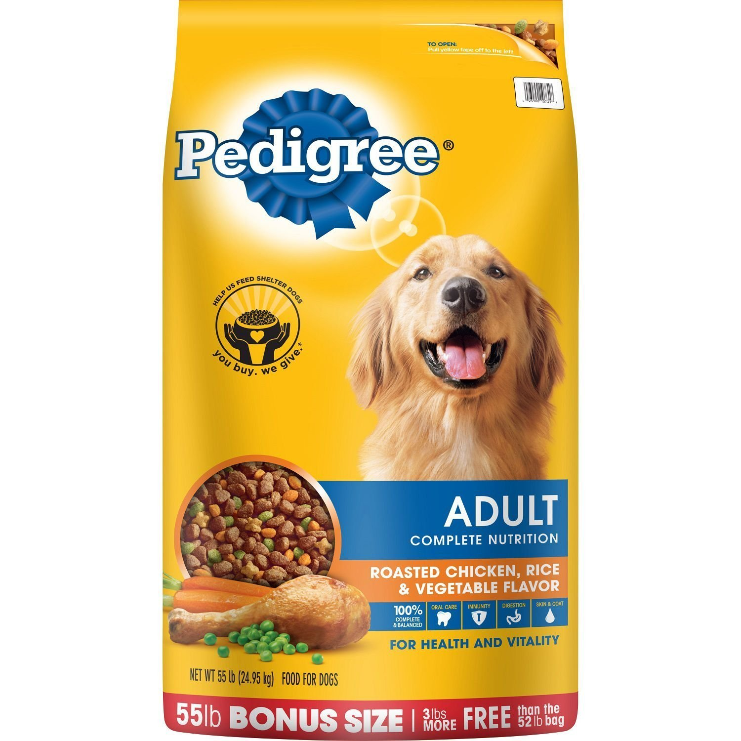 Pedigree Adult Complete Nutrition Roasted Chicken, Rice and Vegetable Dry Dog Food (55 lbs.)