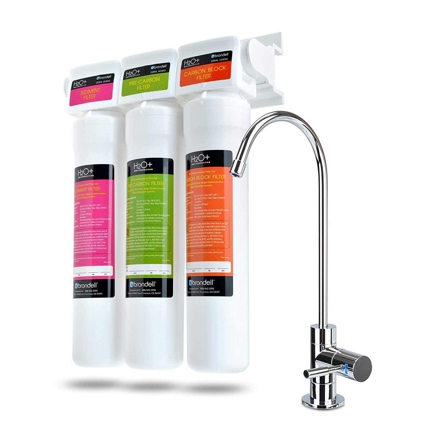 Brondell H2O+ Coral UC300 Three-Stage under Counter Water Filtration System with LED Faucet