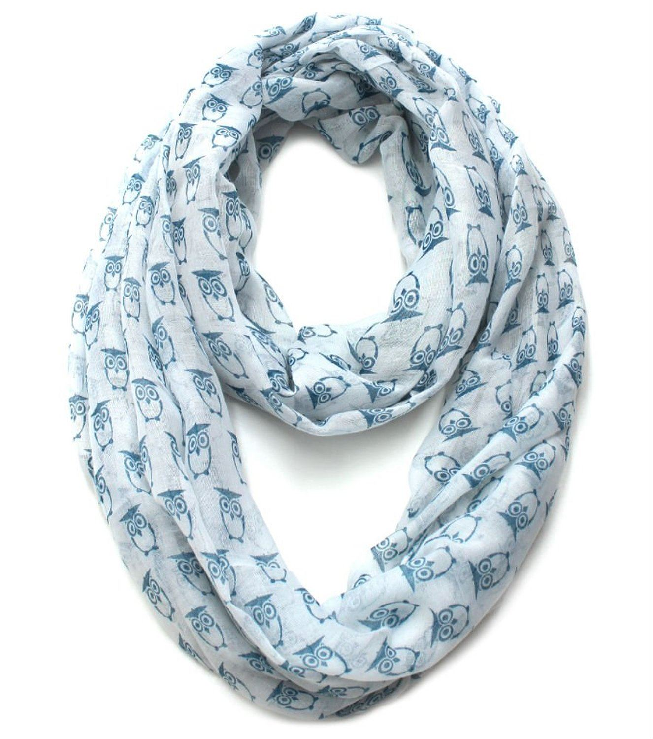 Lightweight Bright Color Owl Printed Infinity Scarf in White-Blue
