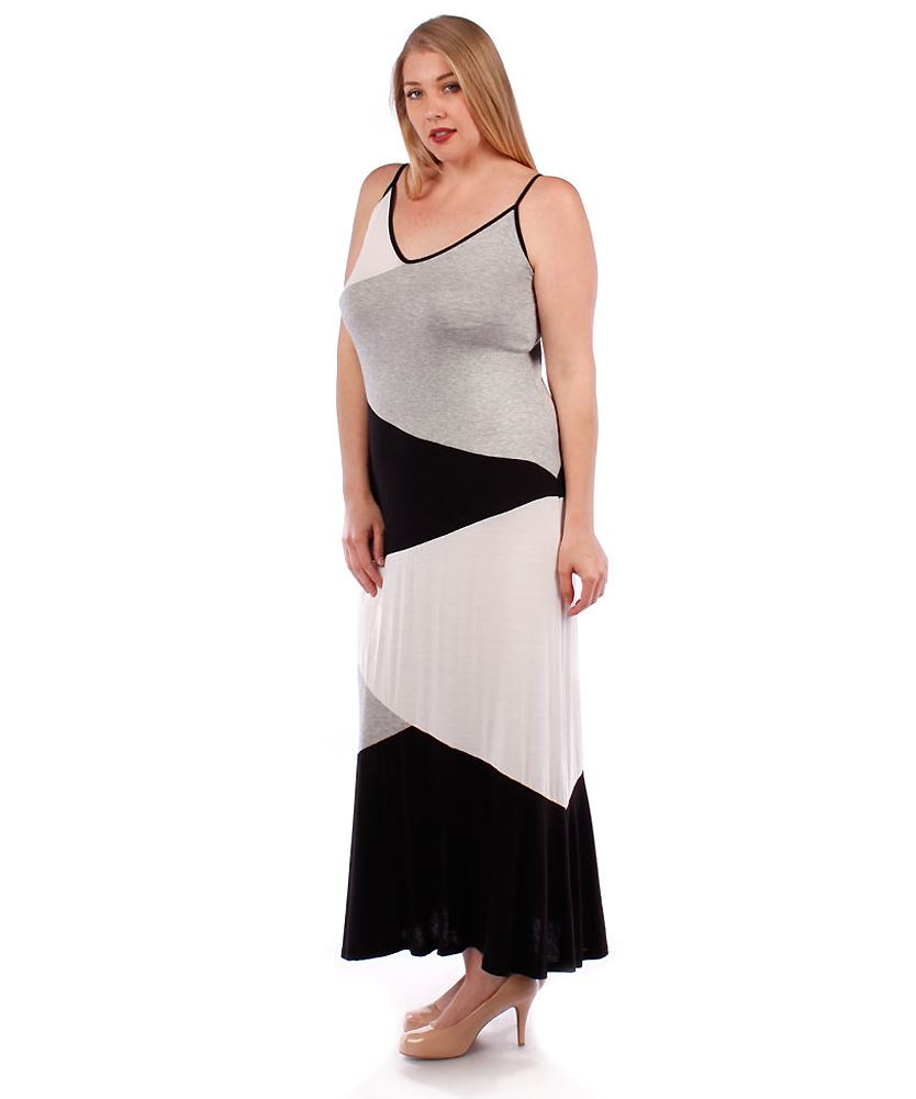 Belle Donne- Women's Plus Size Color Block Maxi Dress - Heather Gray/X-Large
