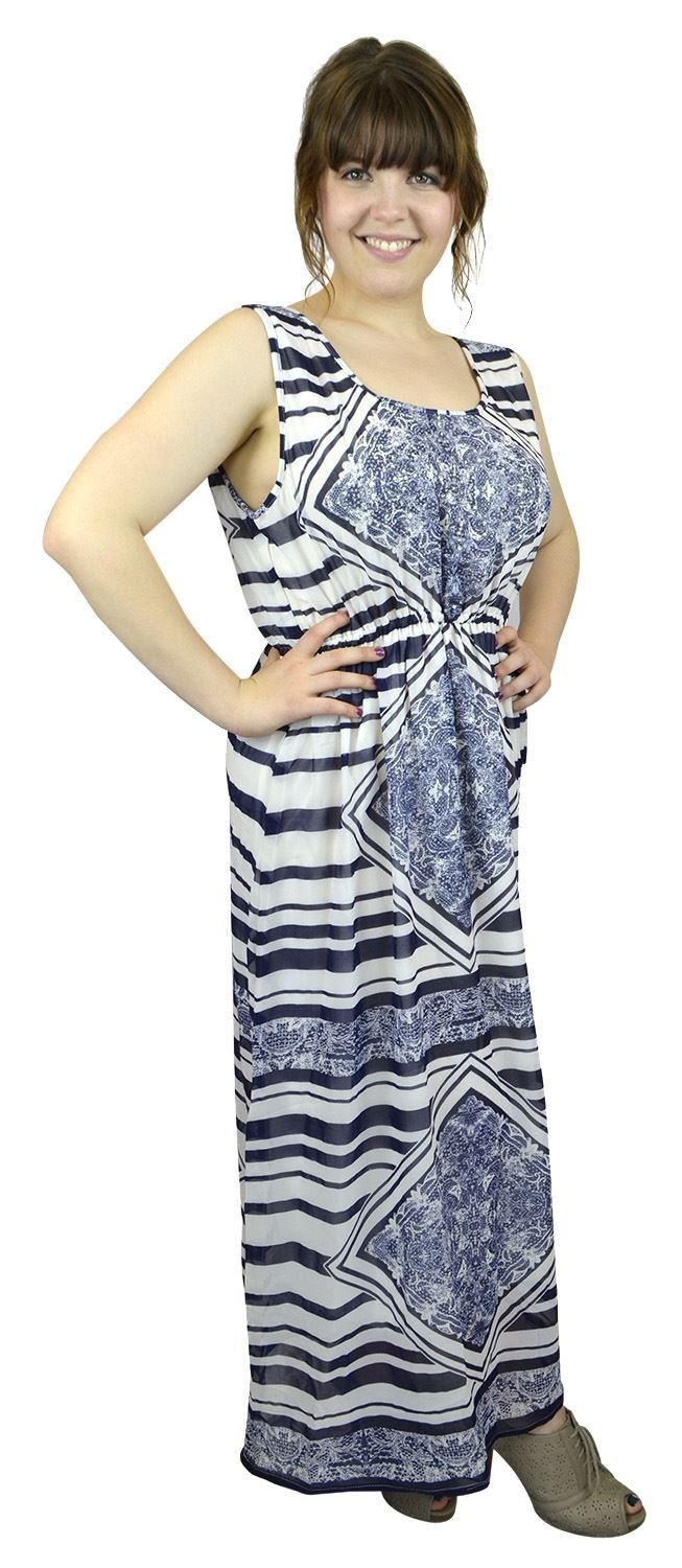 Belle Donne Women's Plus Size Print Maxi Dresses Cute Spring Fashion Sundress -Navy/XX-Large