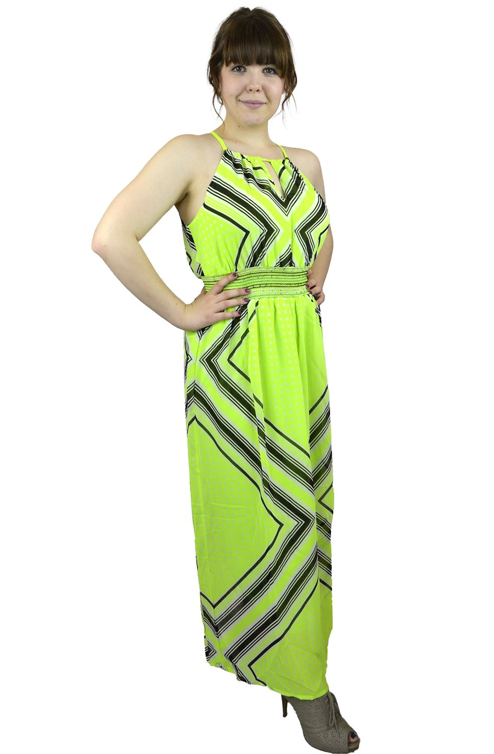 Belle Donne Women's Plus Size Print Maxi Dresses Cute Spring Fashion Sundress -Lime/XX-Large