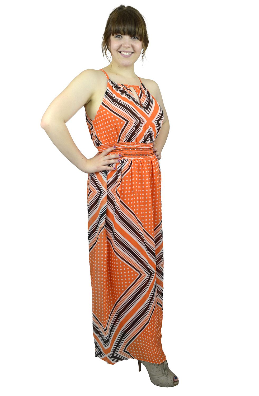 Belle Donne Women's Plus Size Print Maxi Dresses Cute Spring Fashion Sundress -Orange/XX-Large