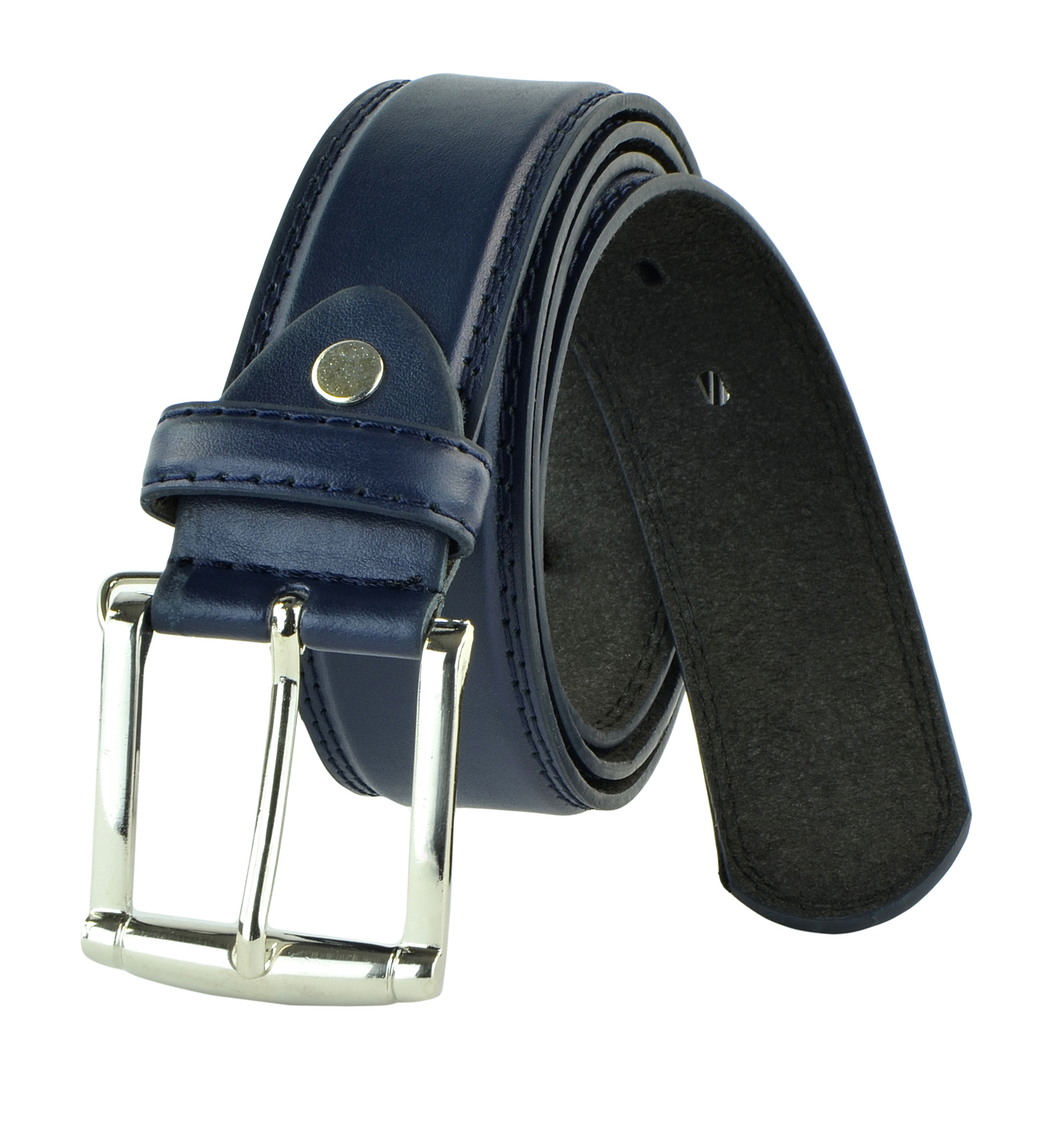 Moda Di Raza - Men's Classic Leather Belt - 1.5 Inch Width - Square Silver Polished Belt Buckle - Formal or Casual Dress Belt - PU Bonded Leather - Navy Medium