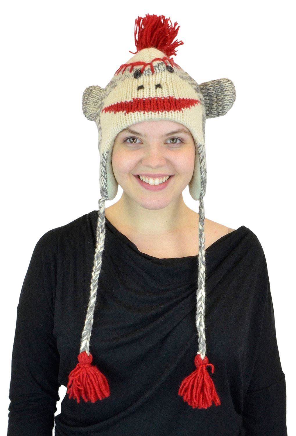 Adult Size Sock Monkey Wool Knit Hat with Red Poms