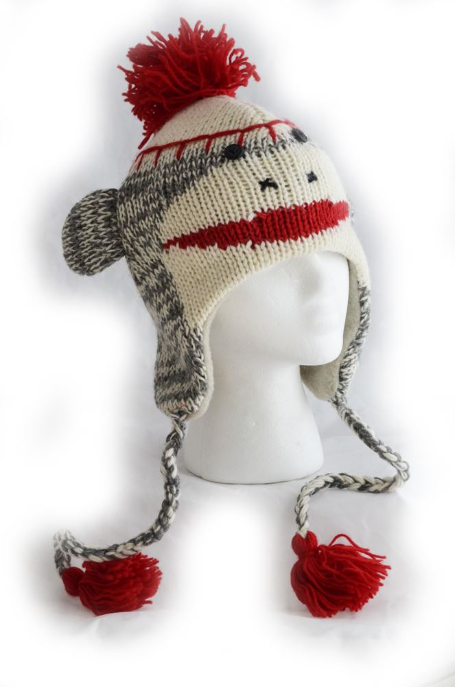 Adult Size Sock Monkey Wool Knit Hat with Red Poms in Gray