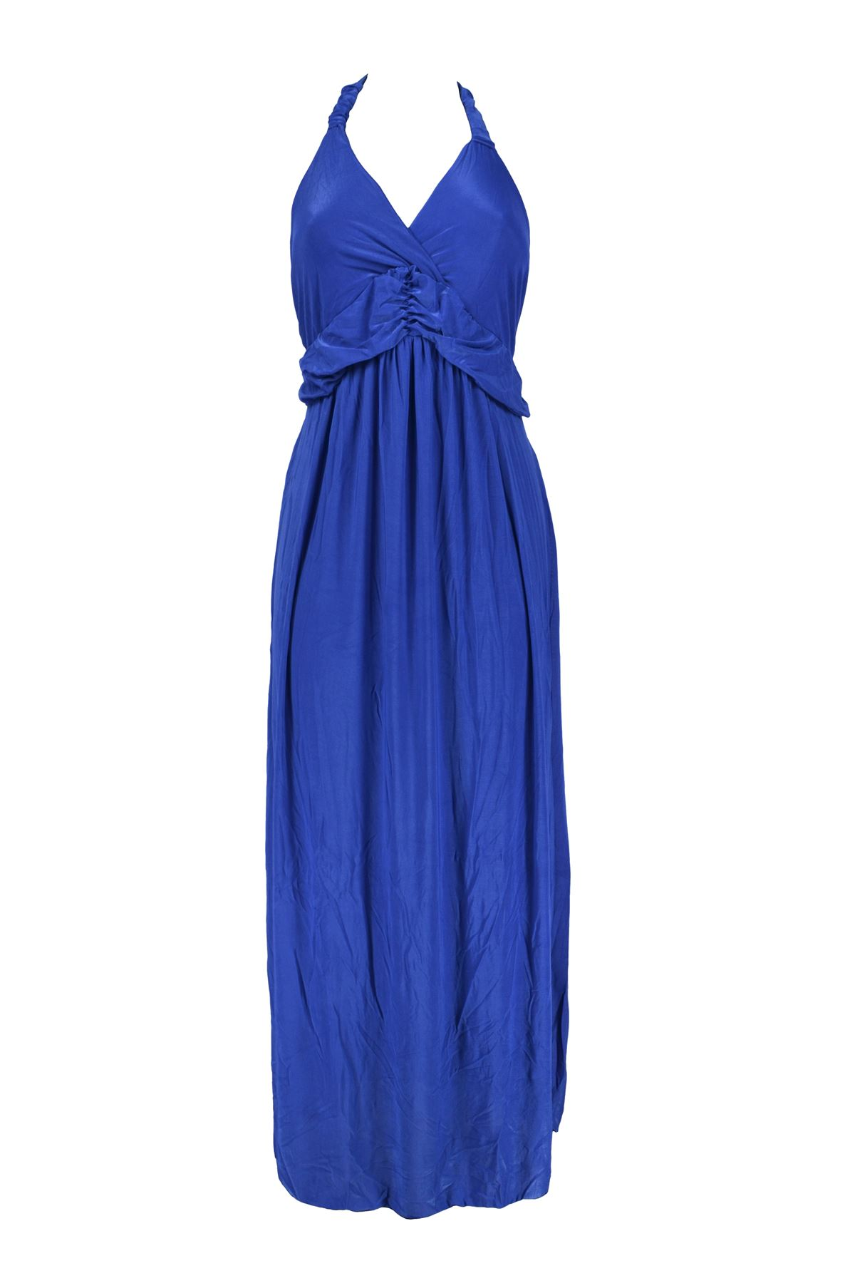 Belle Donne -Womens Clothing Long Maxi Halter Neck Solid Color Dress -Blue-L