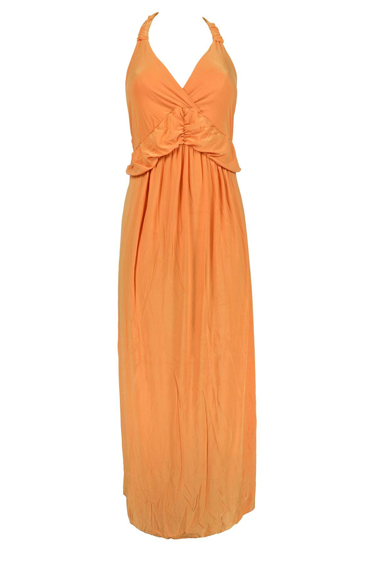 Belle Donne -Women Maxi Dress Summer Dress Top Halterneck Fashion Long Dress - Orange