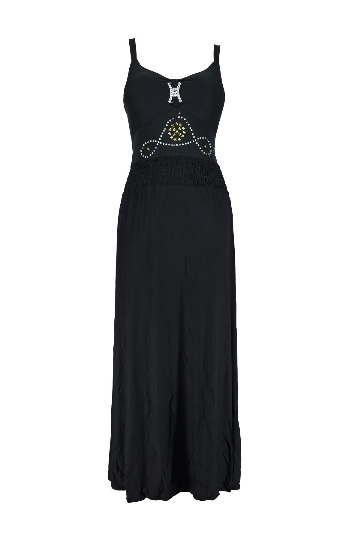 Belle Donne-Womens Clothing Long Maxi Simple Strap Solid Color Dress-Black -L
