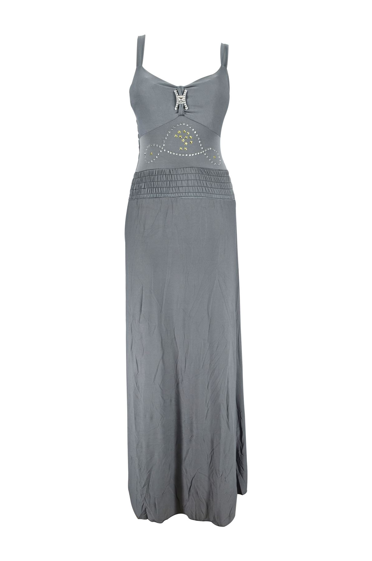 Belle Donne -Womens Maxi Dress Summer Dress Top Halterneck Fashion Long Dress - Gray