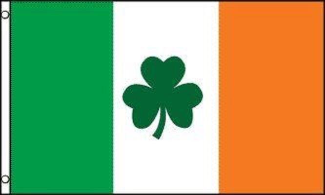 IRELAND Flag with Shamrock - - - 3x5 IRISH FLAG