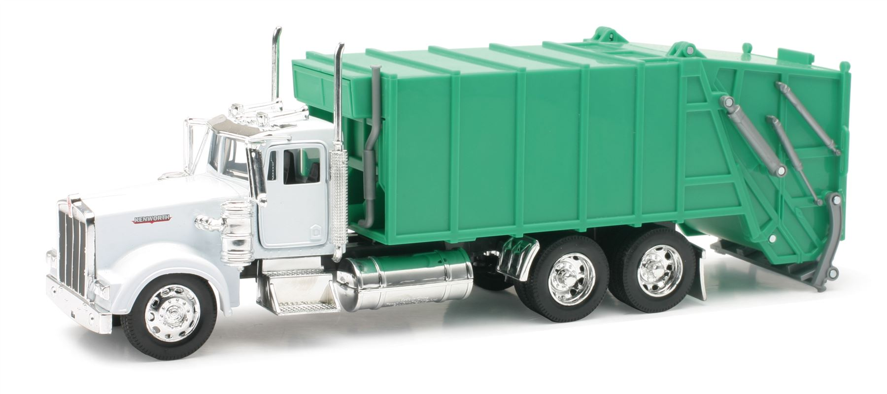 White and Green Kenworth W900 Dump Garbage Truck 1:32 Scale Diecast and Plastic