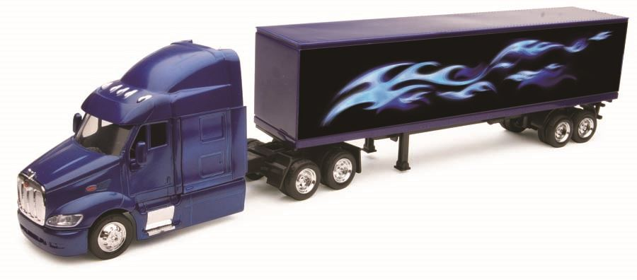Diecast Peterbilt 387 Container Blue with Silver Flames 1:43 Scale