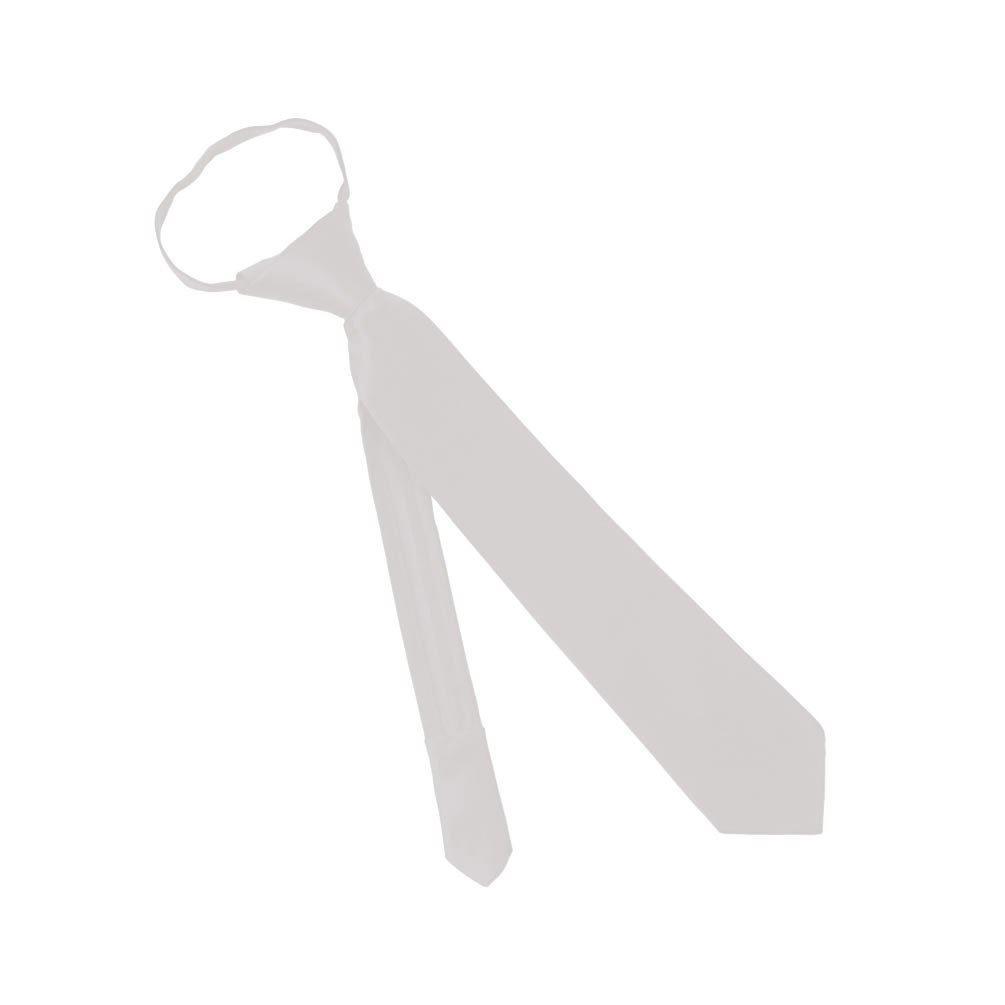 Solid Color Boys 14 Inch Zipper Tie - White
