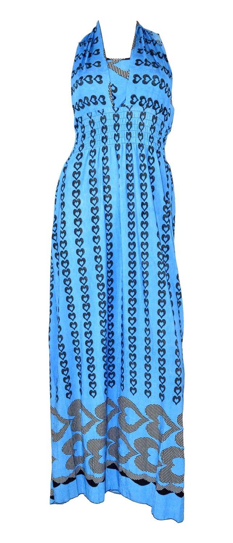 Belle Donne Women's Heart Pattern Summer Dress-Blue/L