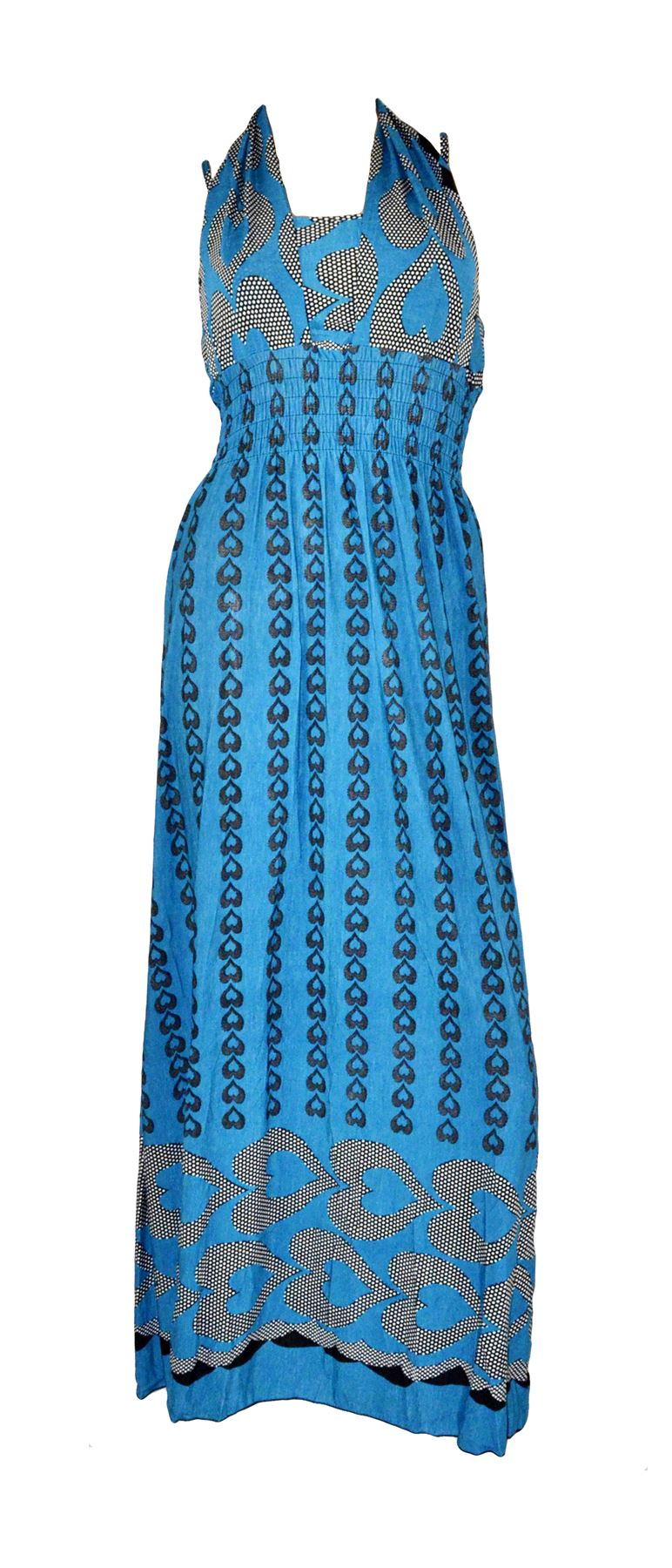 Belle Donne Women's Heart Pattern Summer Dress-Teal/M