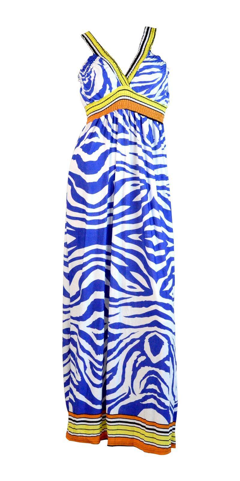 Belle Donne-Womens Clothing Trimmed Animal Print Halter Maxi Dress-Blue / Large
