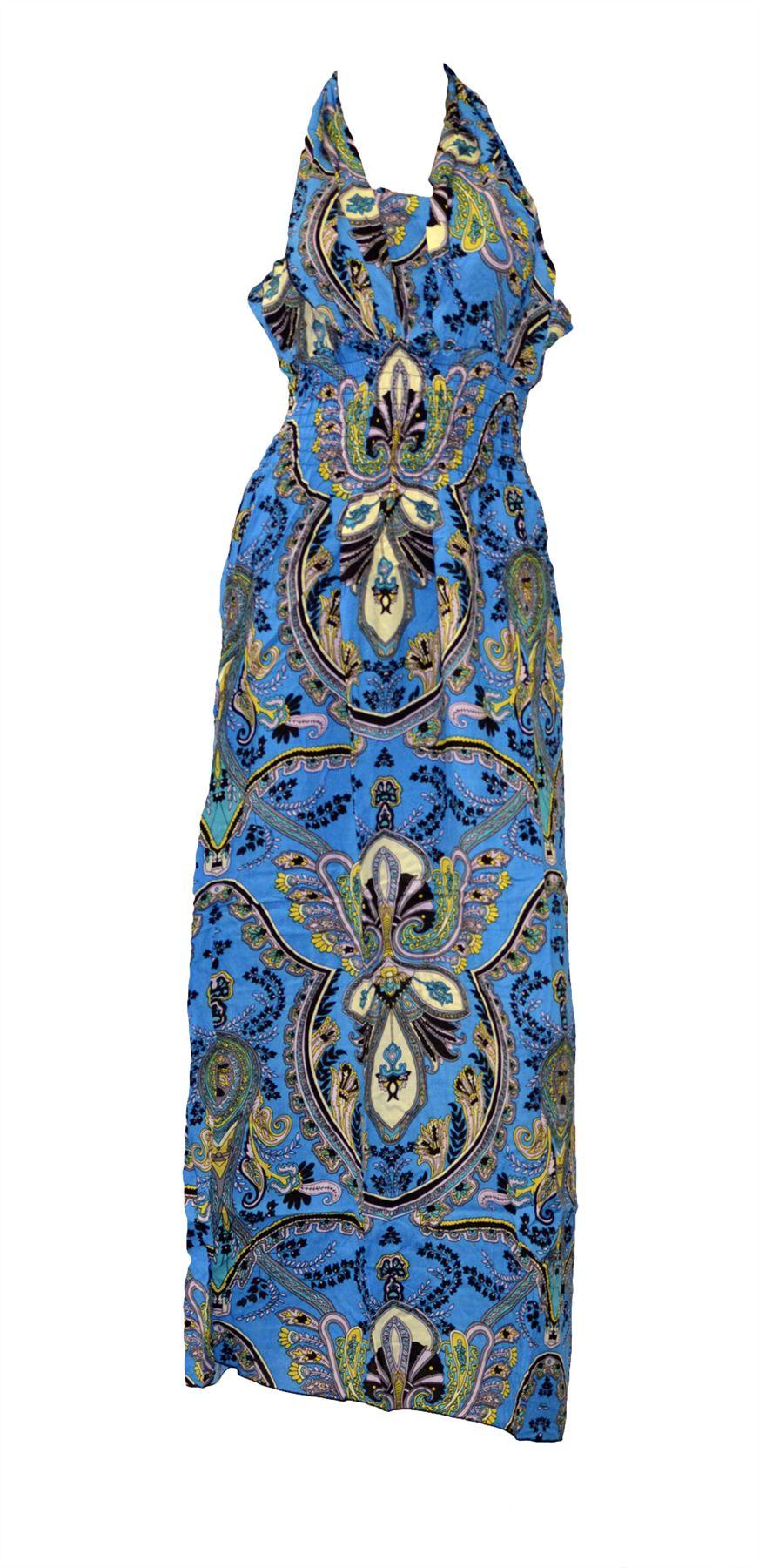 Belle Donne - Women's Summer Dresses - Blue Paisley/X-Large