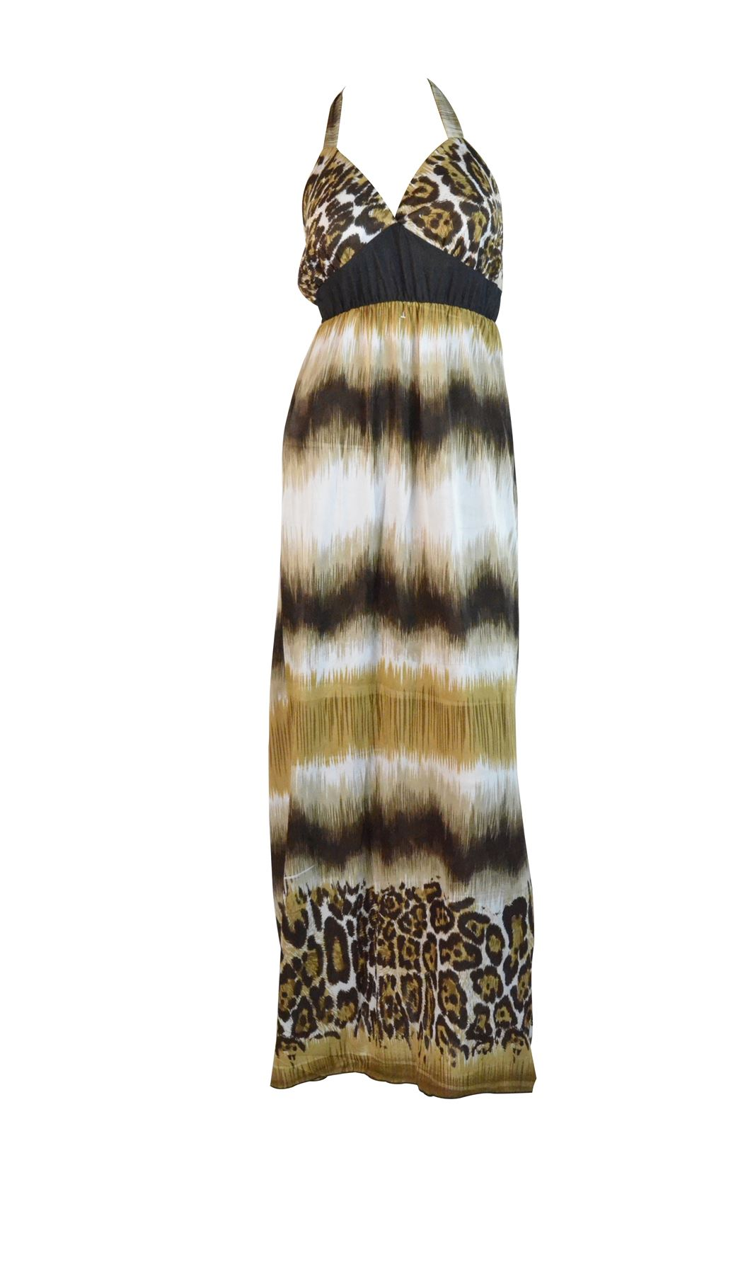 Belle Donne-Womens Clothing Leopard Animal Print Halter Maxi Dress-Brown / Large
