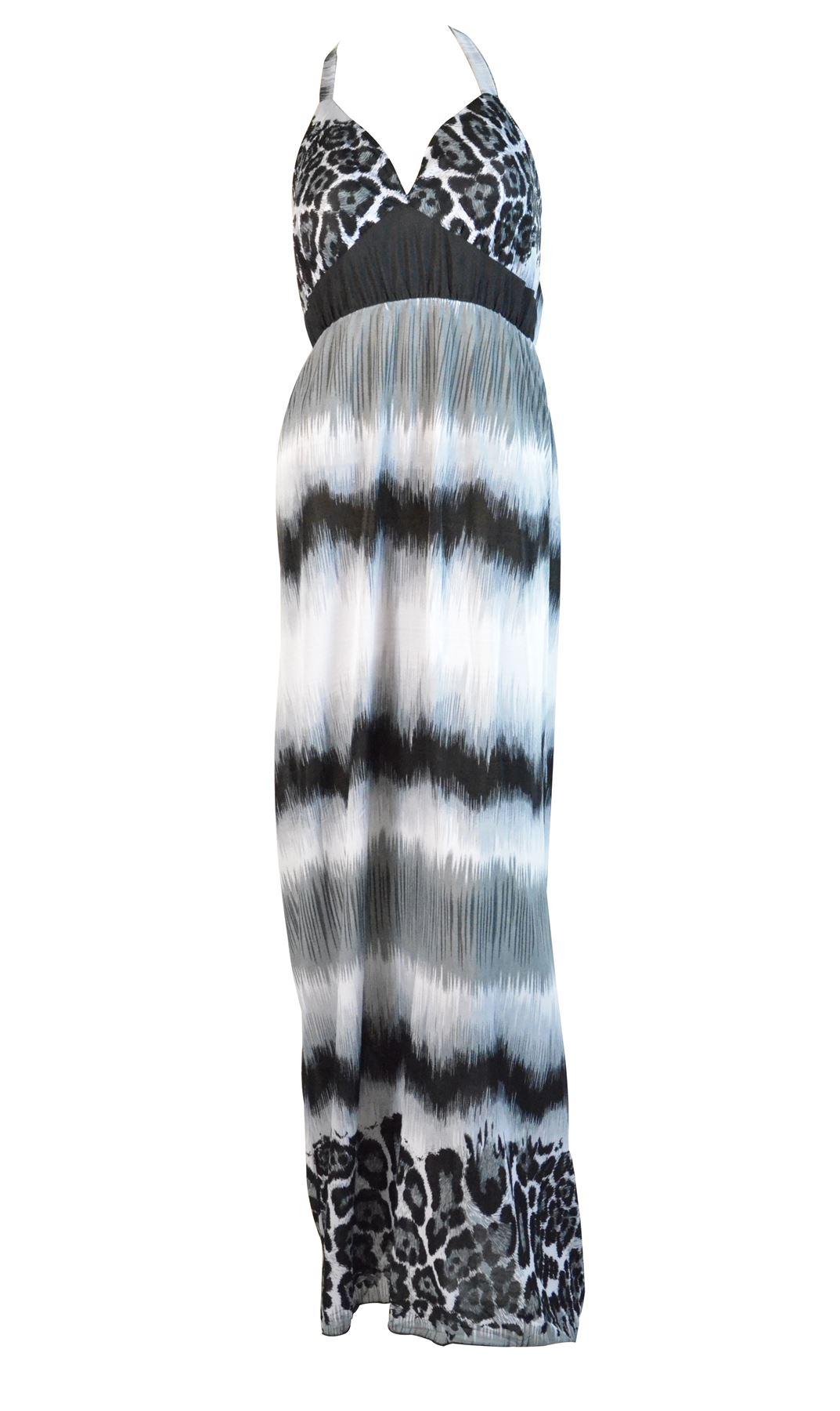 Belle Donne -Womens Maxi Dress Summer Dress Top Halterneck Fashion Long Dress - Gray