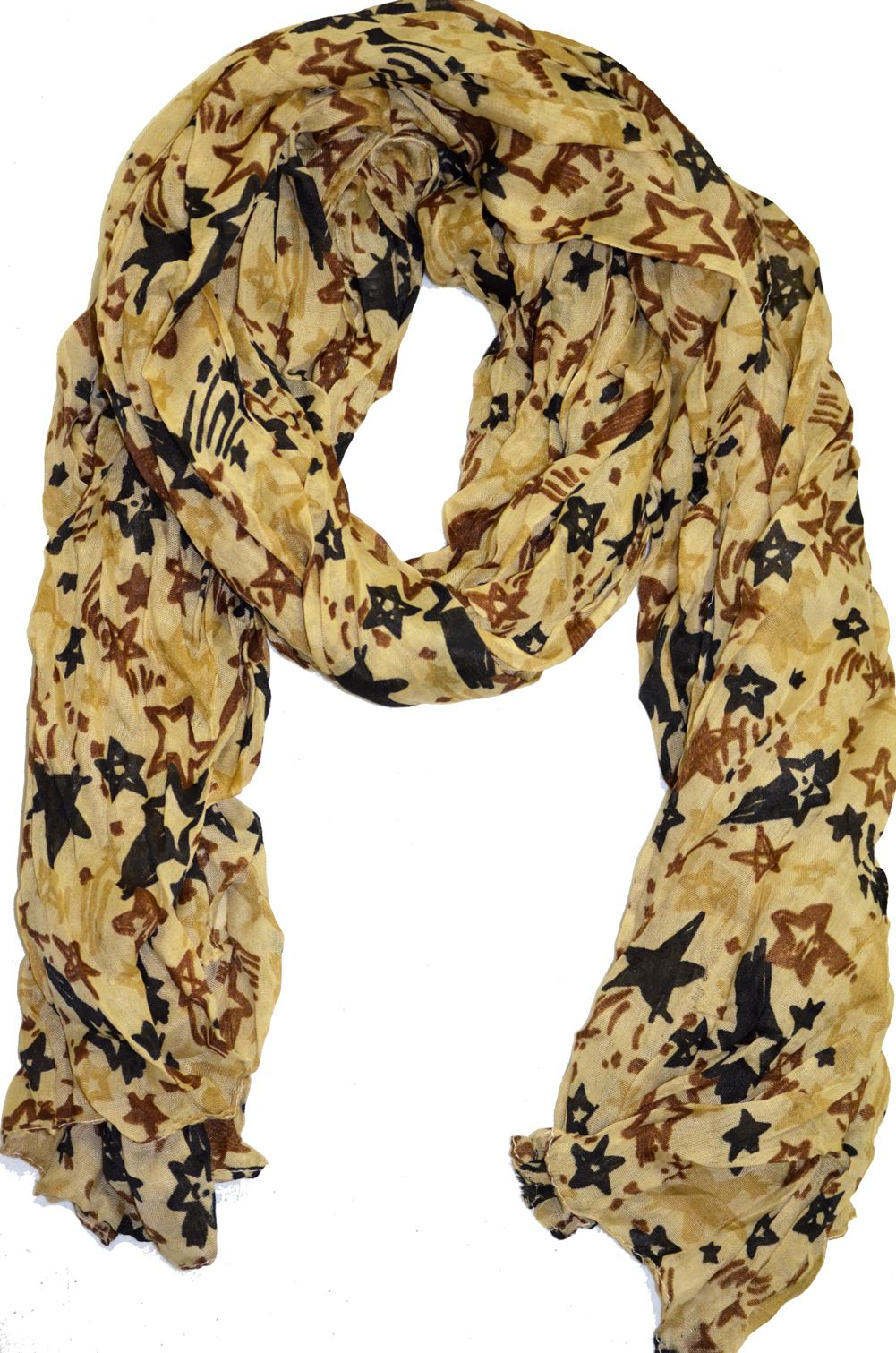 Belle Donne- Women's Sheer Spotted Multicolor Scarf -Shooting Star Beige