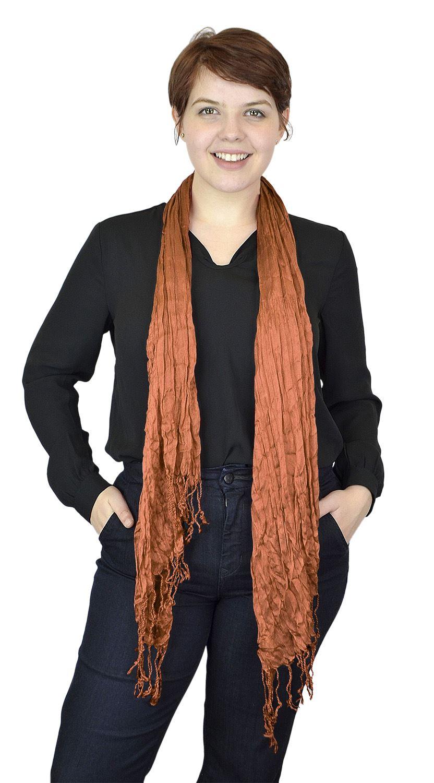Belle Donne - Women's Fashion Scarf stylish Crinkle Scarves - Persimmon Orange