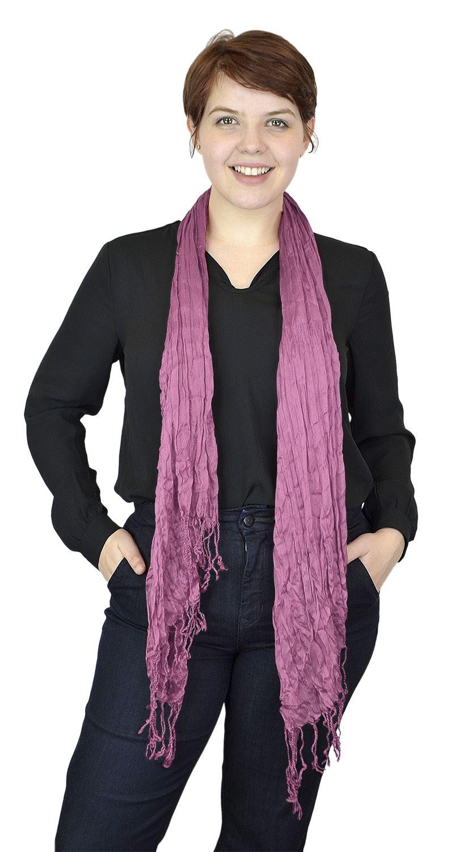 Belle Donne - Women's Fashion Scarf Faux Pashmina stylish Crinkle Scarves - Rose Pink