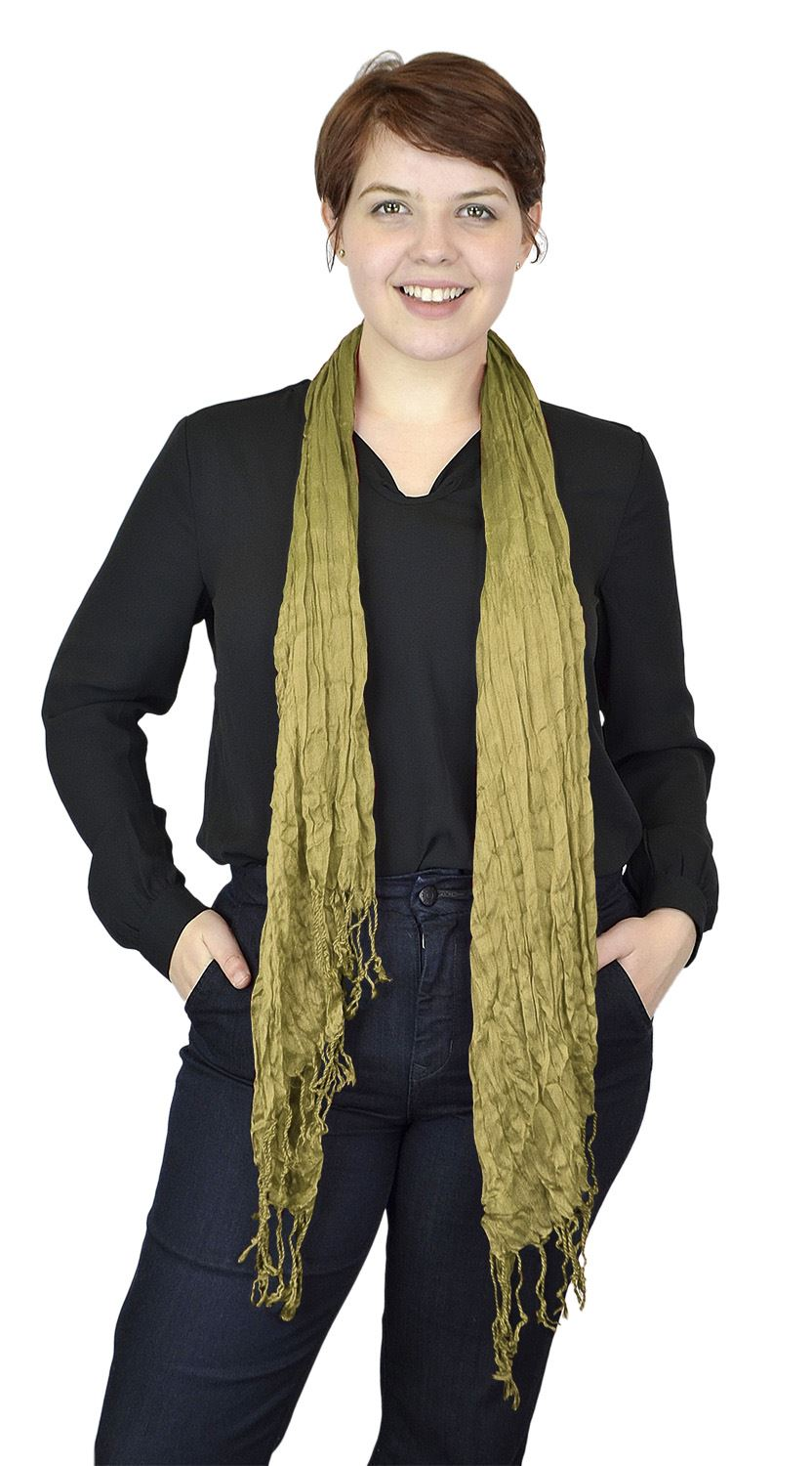Belle Donne - Women's Fashion Scarf Faux Pashmina stylish Crinkle Scarves - Bright Banana