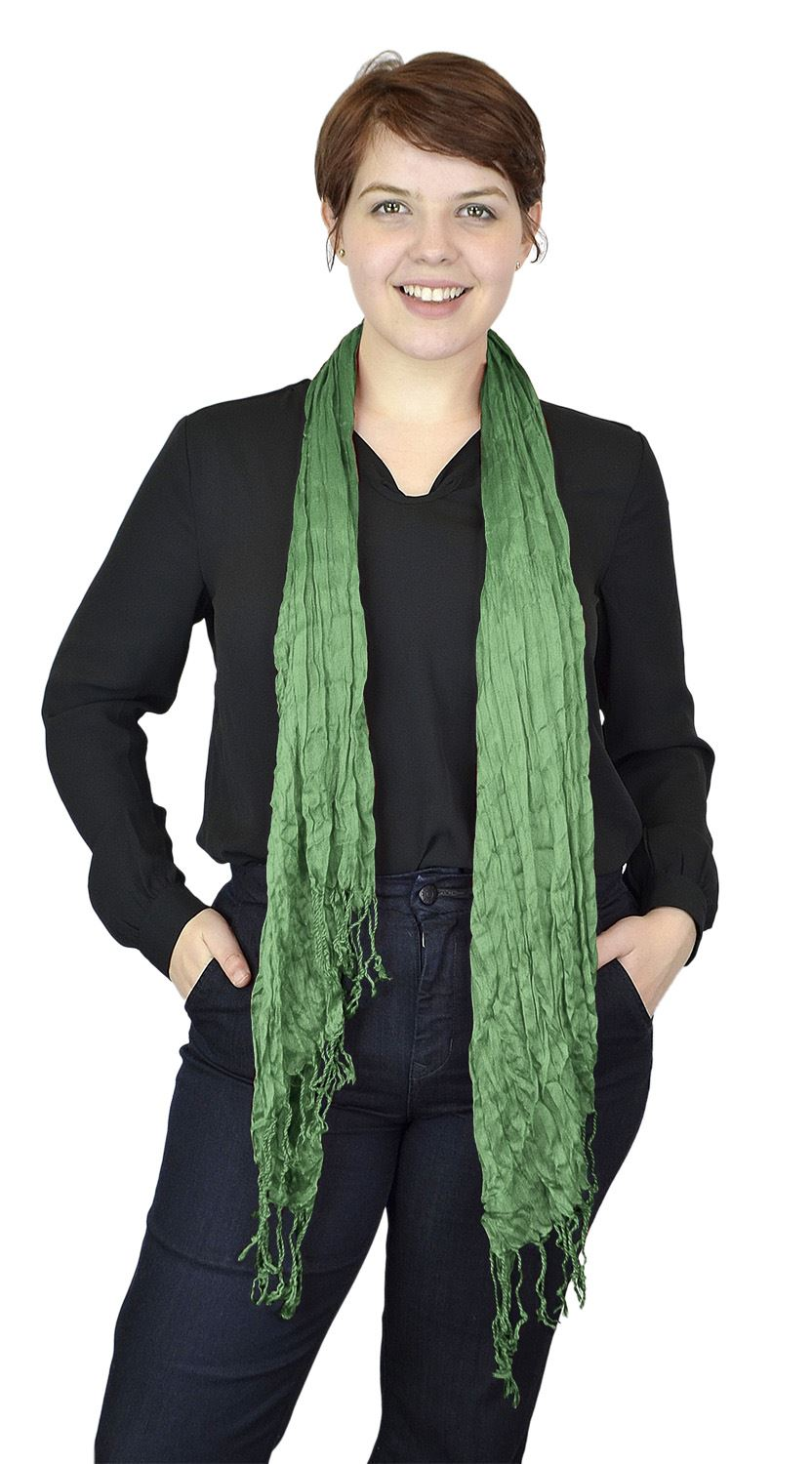 Belle Donne - Women's Crinkle Fashion Scarf Solid Color Polyester Scarves - Light Green
