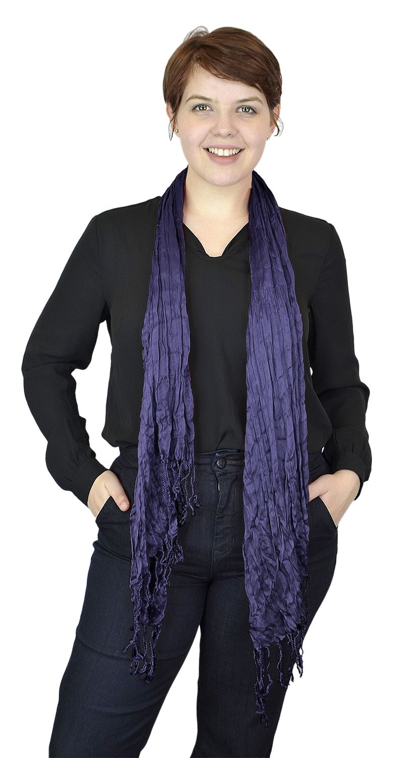 Belle Donne - Women's Fashion Scarf Pashmina stylish Crinkle Scarves - Plum Purple