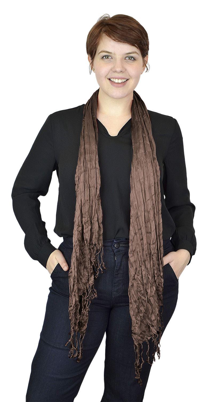 Belle Donne - Women's Fashion Scarf Pashmina stylish Crinkle Scarves - Mocha Brown