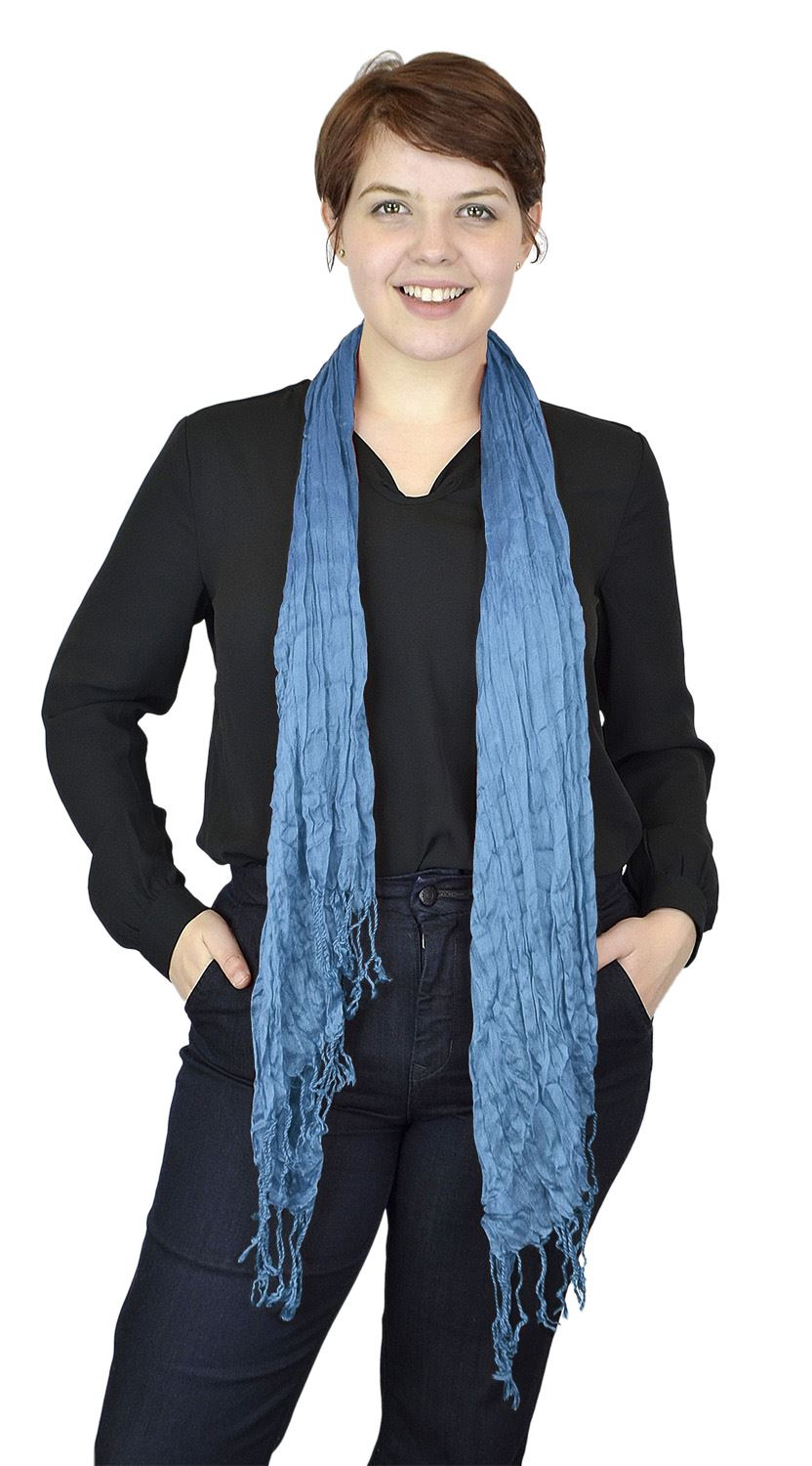 Belle Donne - Women's Crinkle Fashion Scarf Solid Color Polyester Scarves - Turquoise Blue