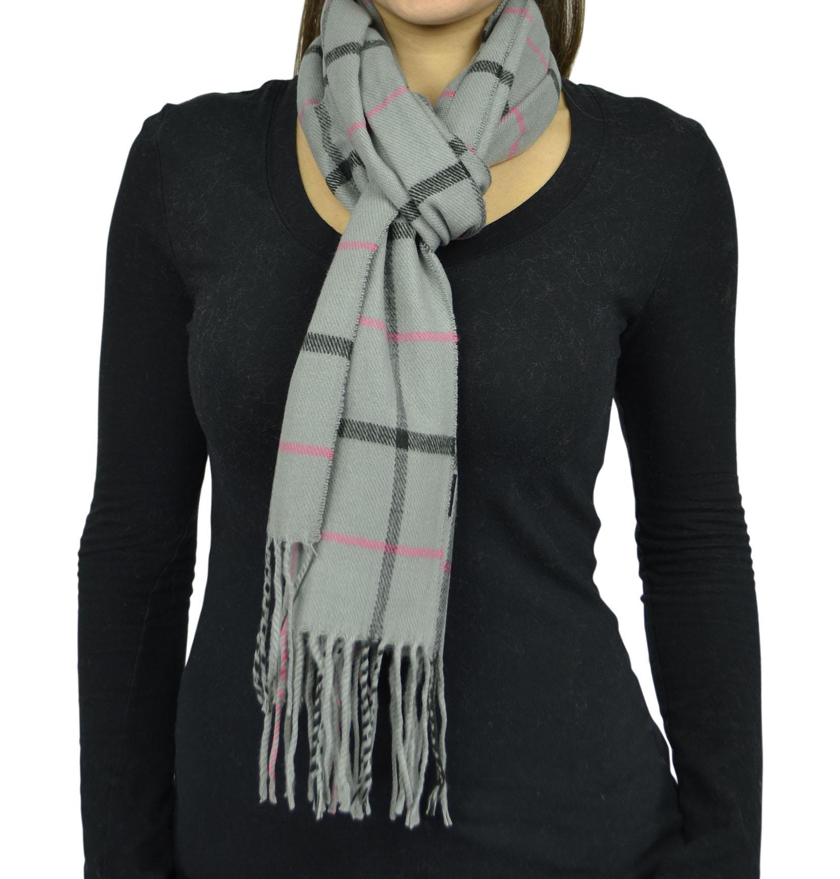 Belle Donne- Unisex Cashmere Feel Scarf - Plaid / Warm Winter Fashion Scarves - Gray