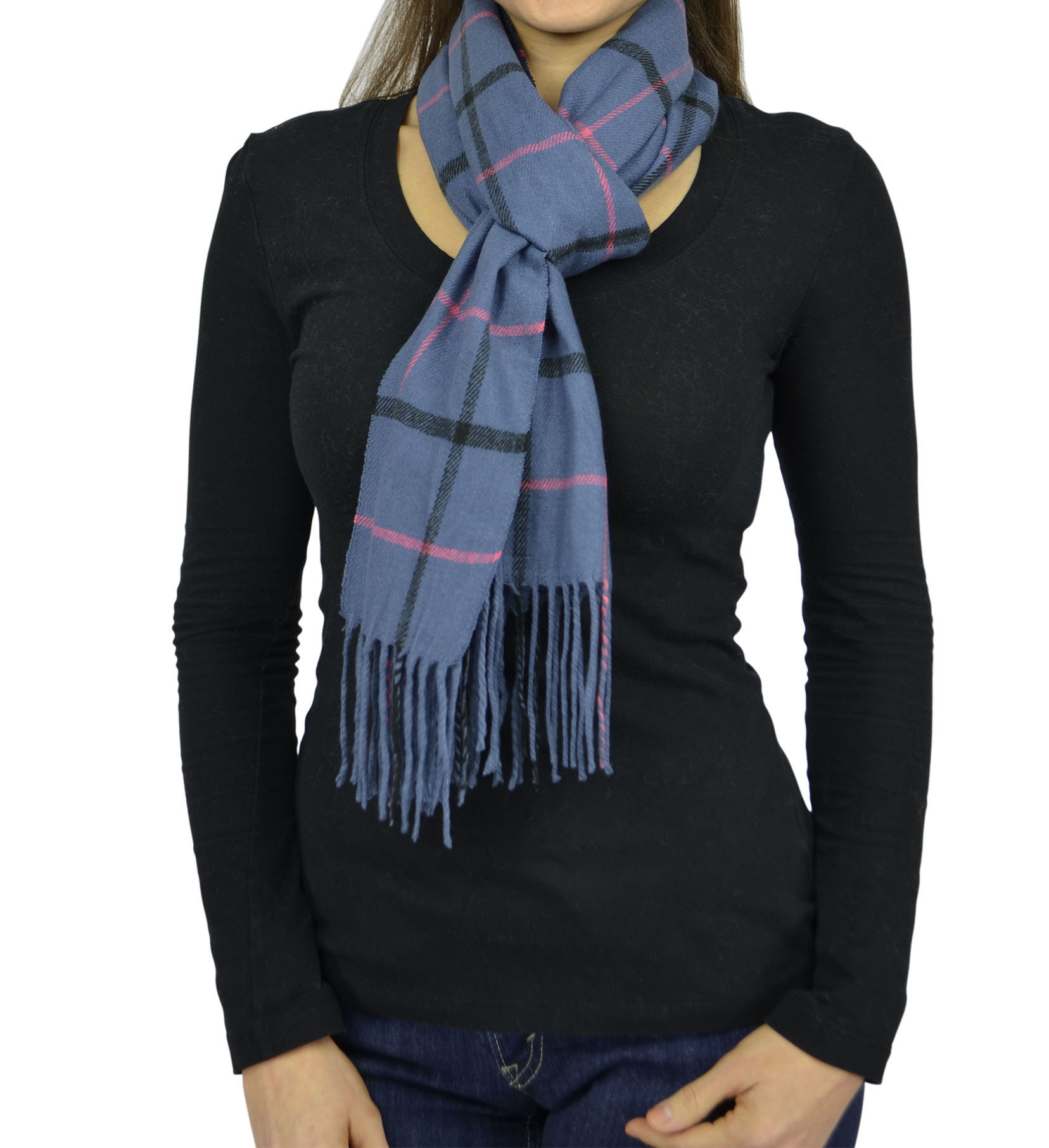 Belle Donne- Women Cashmere Feel Scarf - Plaid/Warm Winter Fashion Scarves - Navy