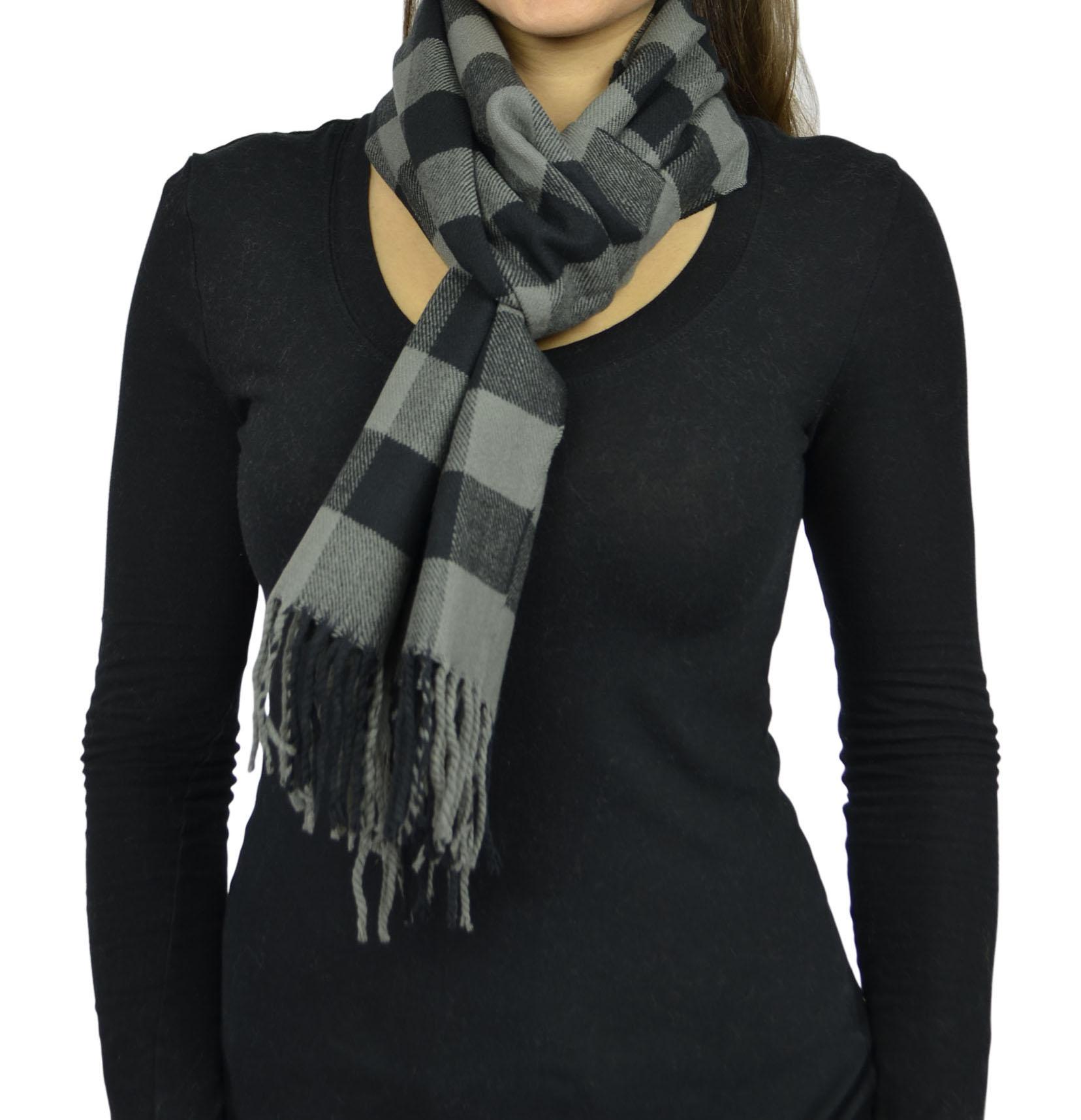 Belle Donne- Women Cashmere Feel Scarf - Plaid / Warm Winter Fashion Scarves - Gray