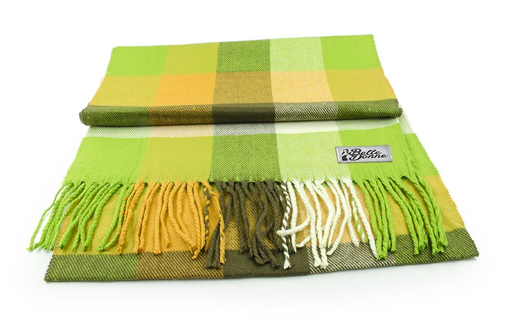 Belle Donne- Women Cashmere Feel Scarf - Plaid/Warm Winter Fashion Scarves - Green